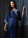 Lauma, Blue Silky Satin Long Dressing Gown, On Model Front, 84H98