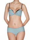 Lauma, Blue Moulded Push Up Bra, On Model Front, 39D14