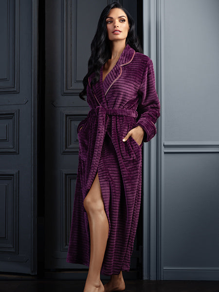Lauma, Violet Soft Long Robe, On Model Front, 72D90