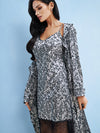 Lauma, Silver Satin Dressing Gown, On Model Front, 63J98