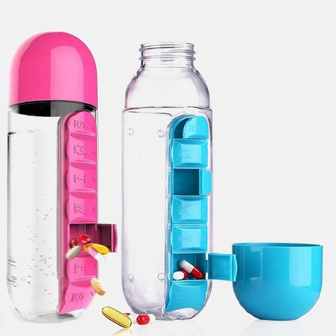 WATER BOTTLE WITH PILL TRAVEL BOX