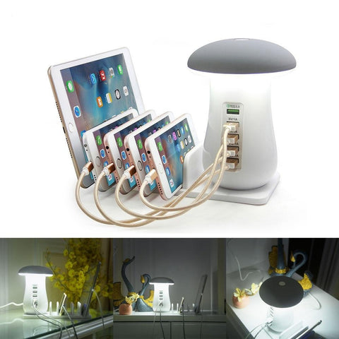 Mushroom Multi Ports USB Charging Station & Lamp - 5 Port Charger