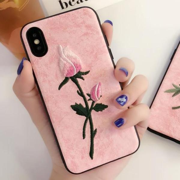 check out cbe10 95847 Rose Embroidered iPhone Case