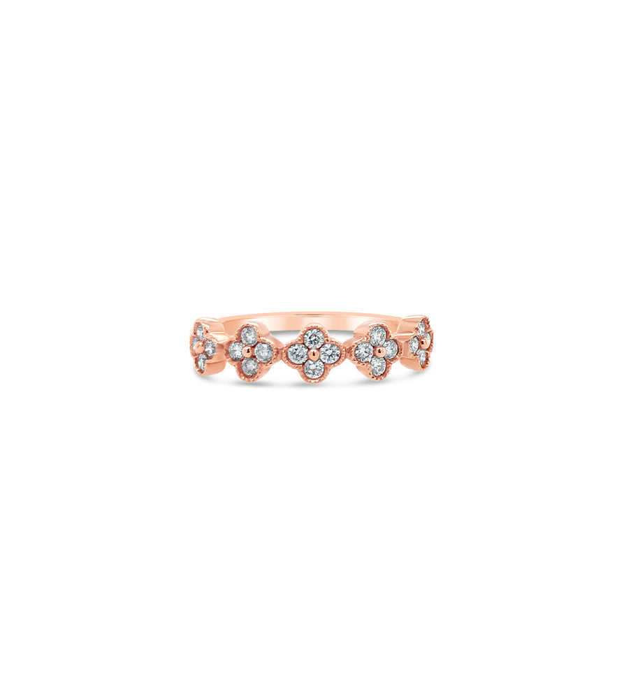 Diamond Clover Stackable Band - 14K Rose Gold / 5 - Olive & Chain Fine Jewelry