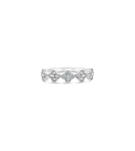 Diamond Clover Stackable Band - 14K White Gold / 5 - Olive & Chain Fine Jewelry