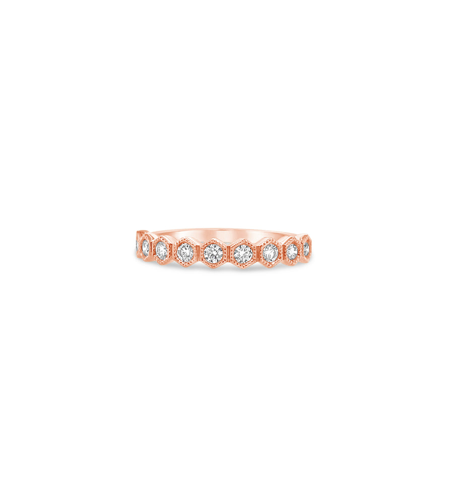 Diamond Hexagon Set Band - 14K Rose Gold / 5 - Olive & Chain Fine Jewelry