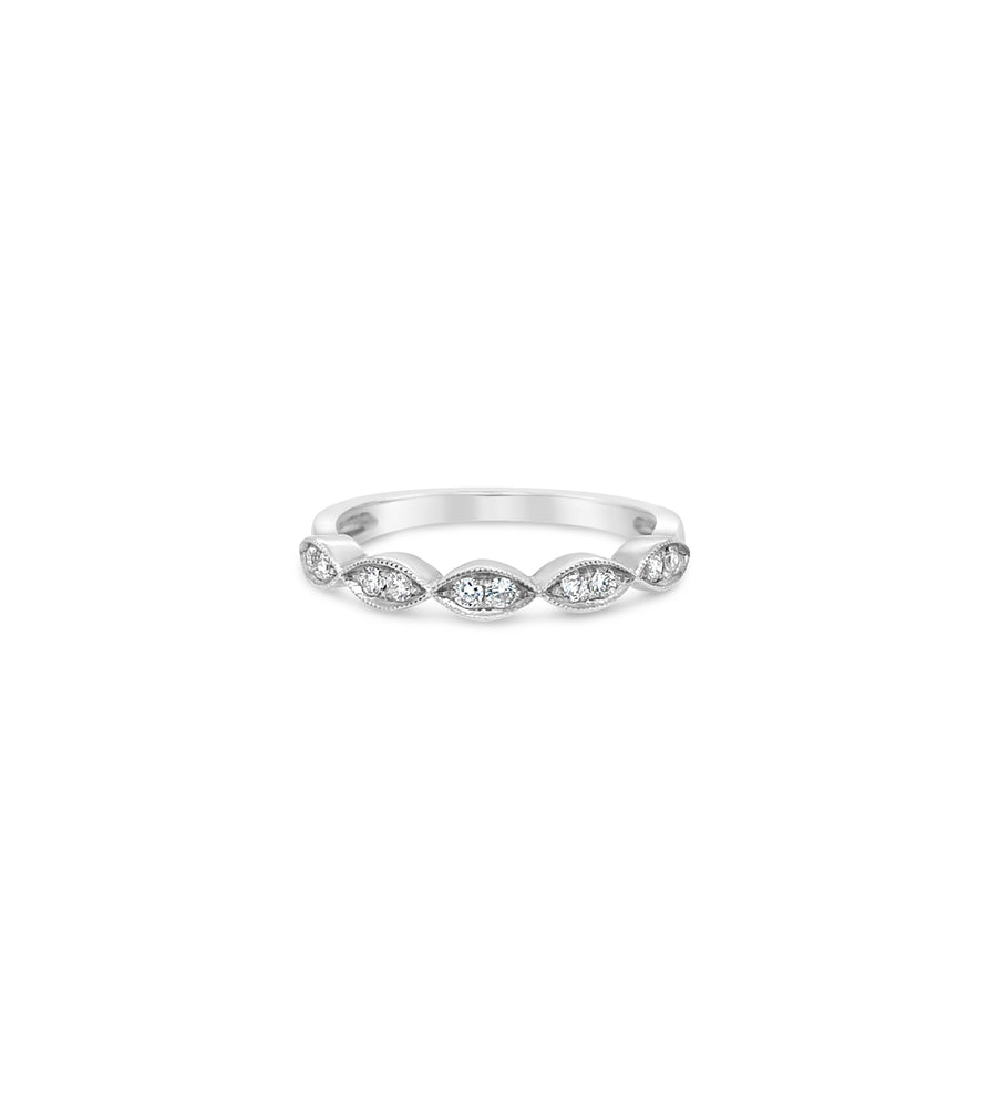 Diamond Marquise Band - 14K White Gold / High Polish / 5 - Olive & Chain Fine Jewelry