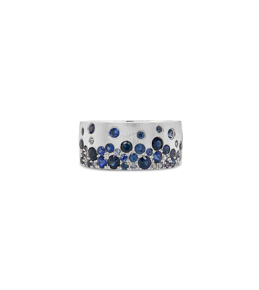 Sapphire Celestial Cigar Band - 14K White Gold / 5 - Olive & Chain Fine Jewelry