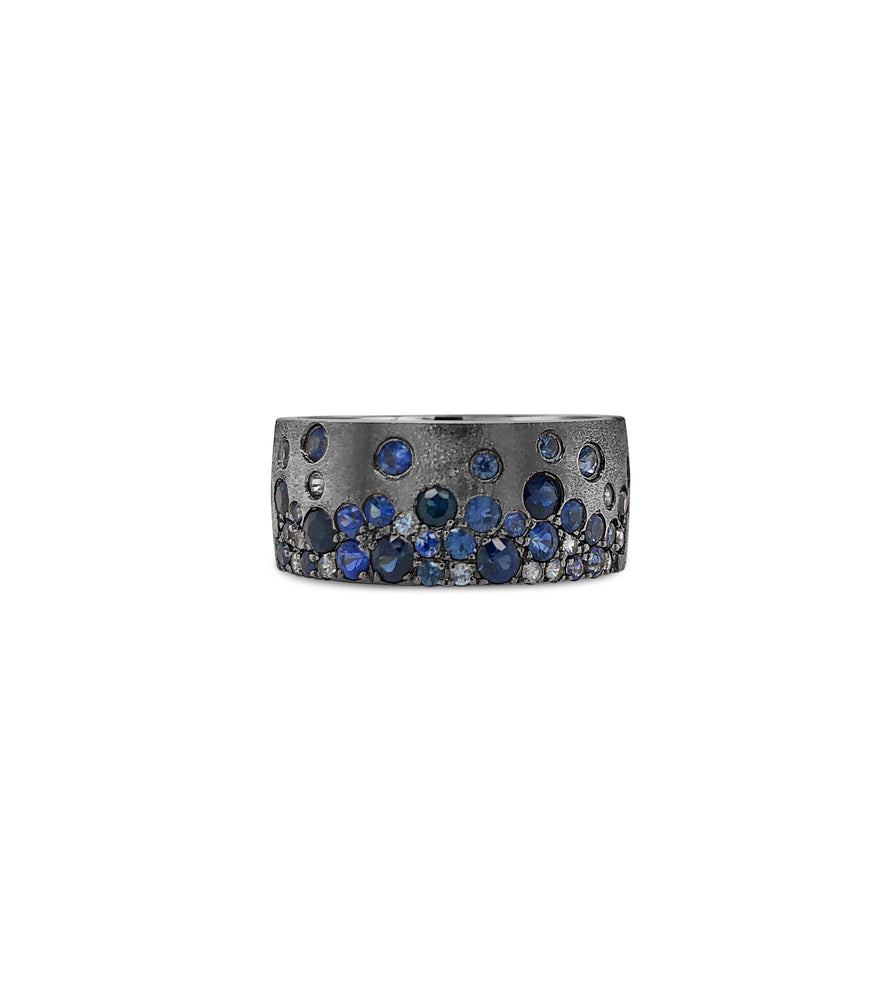 Sapphire Celestial Cigar Band - 14K Black Gold / 5 - Olive & Chain Fine Jewelry
