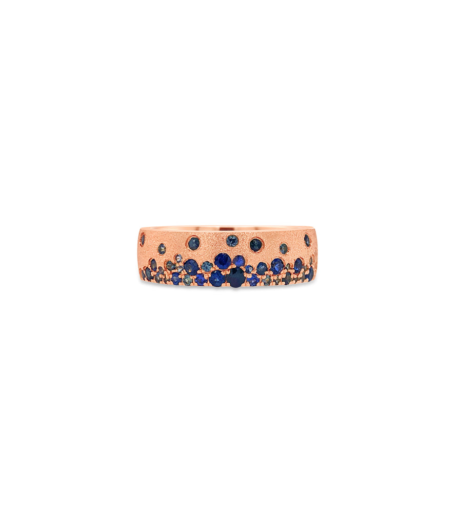 Sapphire Celestial Mini Cigar Band - 14K Rose Gold / 5 - Olive & Chain Fine Jewelry
