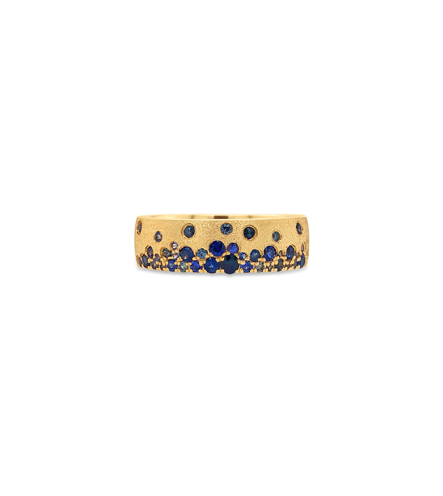 Sapphire Celestial Mini Cigar Band - 14K Yellow Gold / 5 - Olive & Chain Fine Jewelry