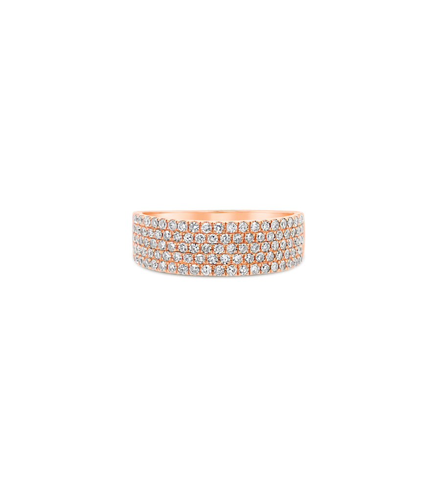 Diamond Cigar Band - 14K Rose Gold / Large / 5 - Olive & Chain Fine Jewelry