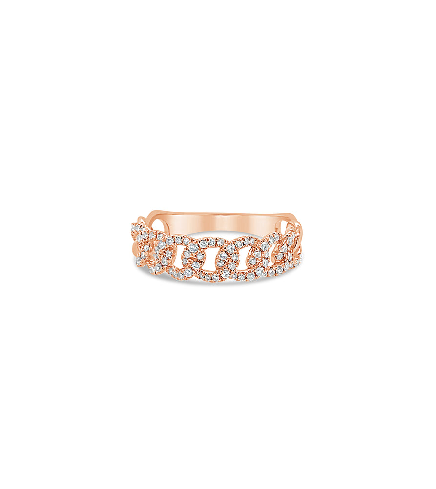 Diamond Cuban Link Ring - 14K Rose Gold / 5 - Olive & Chain Fine Jewelry