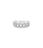 Diamond Cuban Link Ring - 14K White Gold / 5 - Olive & Chain Fine Jewelry