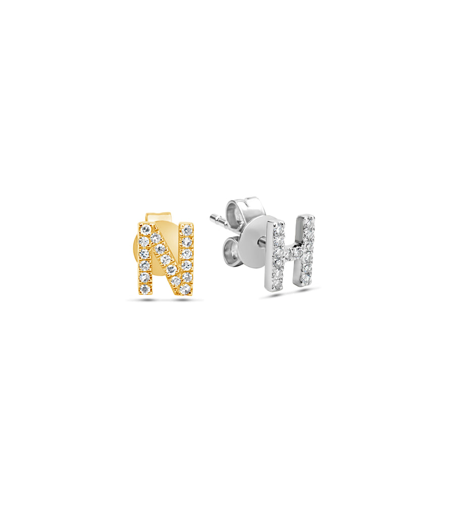 Diamond Initial Stud Earring - 14K  - Olive & Chain Fine Jewelry
