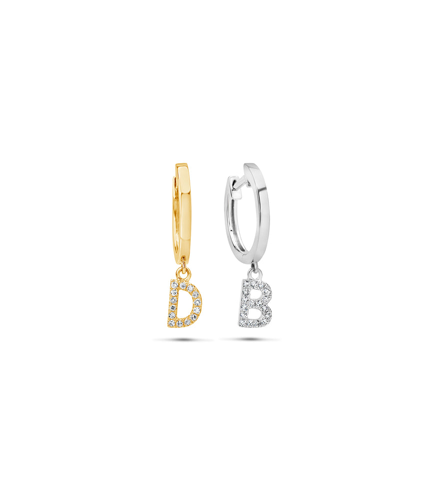 Diamond Initial Huggie Earring - 14K  - Olive Jewelry
