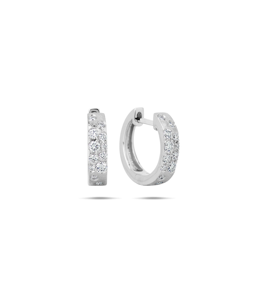 Diamond Celestial Huggie Earring - 14K White Gold - Olive & Chain Fine Jewelry