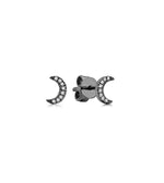 Diamond Moon Stud Earring - 14K Black Gold / Small / Pair - Olive & Chain Fine Jewelry