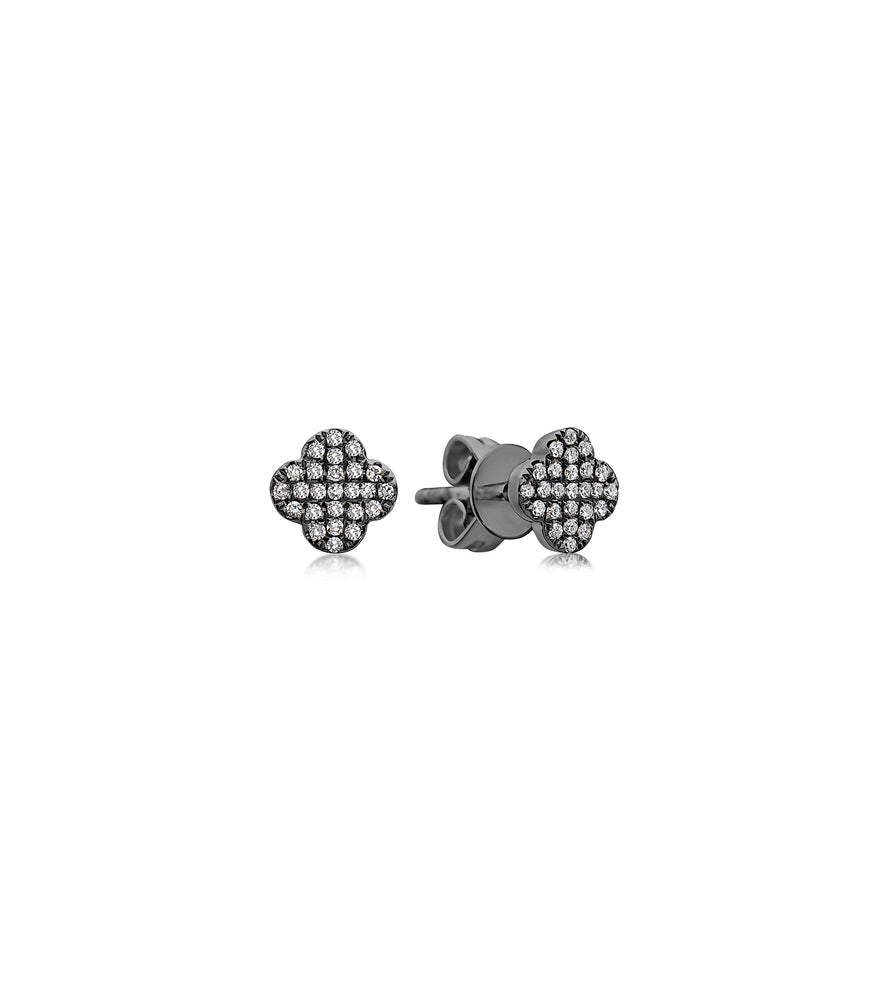 Diamond Clover Stud Earring - 14K Black Gold / Small / Pair - Olive & Chain Fine Jewelry