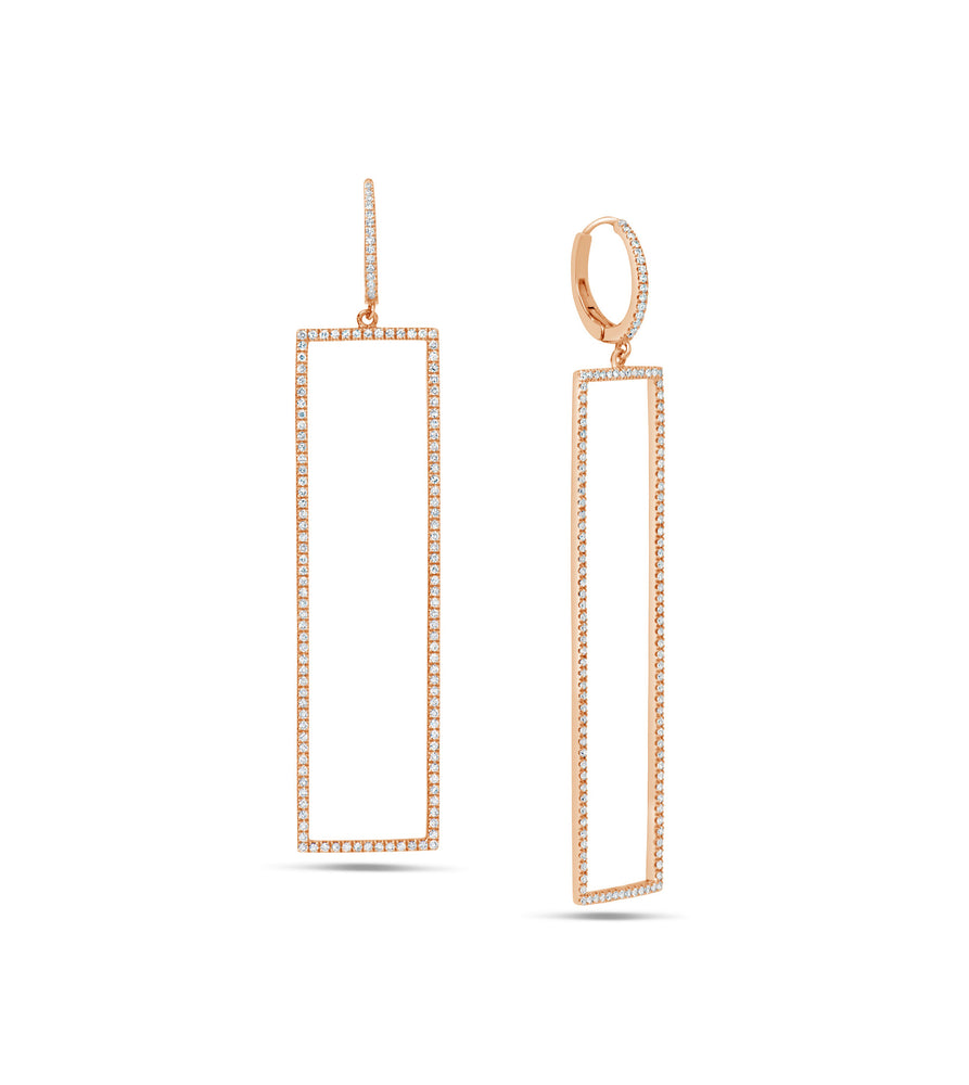 Diamond Jumbo Rectangle Earring - 14K Rose Gold - Olive & Chain Fine Jewelry