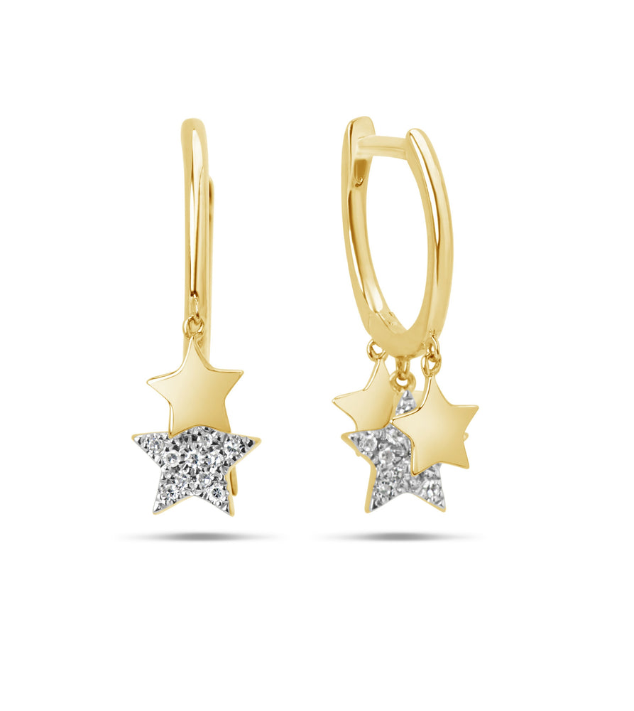 Diamond Star Charm Huggie Earring - 14K Yellow Gold - Olive & Chain Fine Jewelry