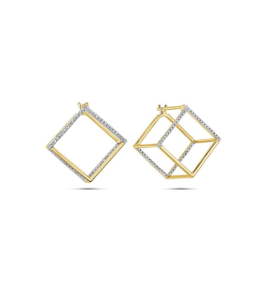 Diamond Cube Earring - 14K Yellow Gold - Olive Jewelry