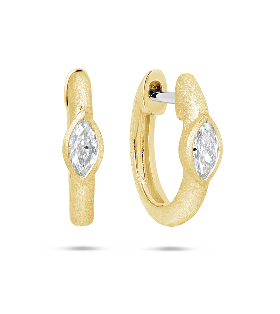 Diamond Marquise Bezel Huggie Earring - 14K Yellow Gold - Olive & Chain Fine Jewelry