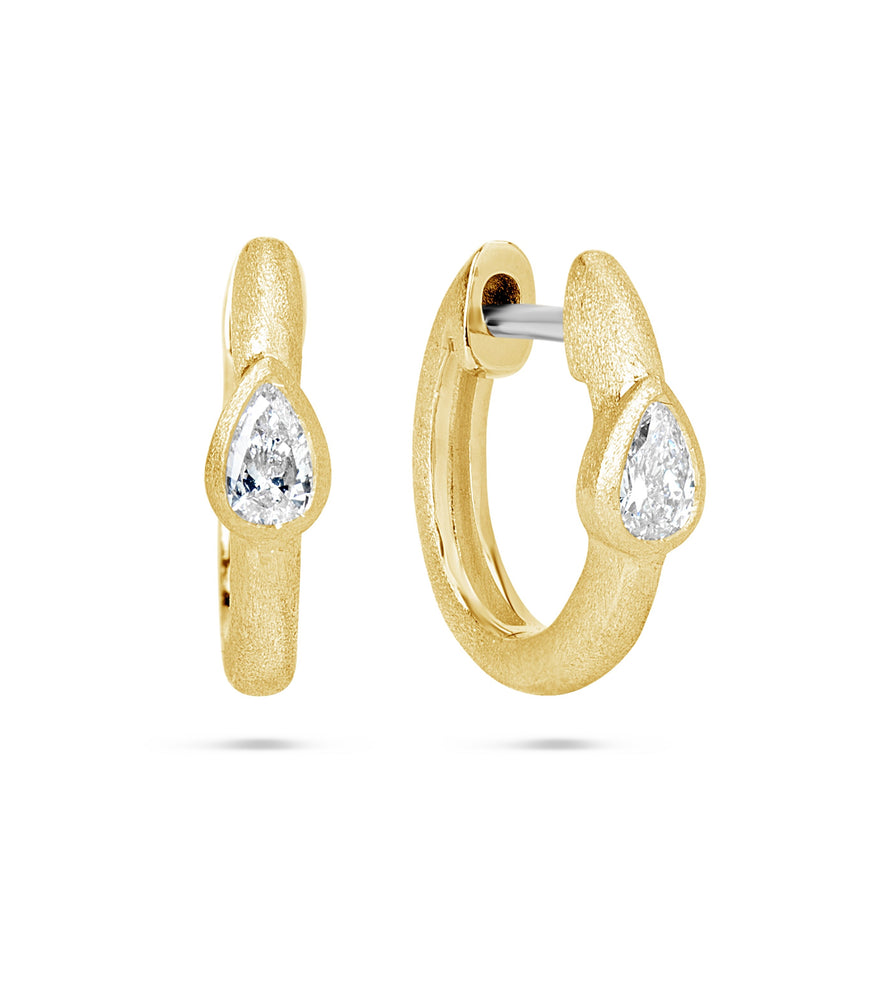 Diamond Pear Bezel Huggie Earring