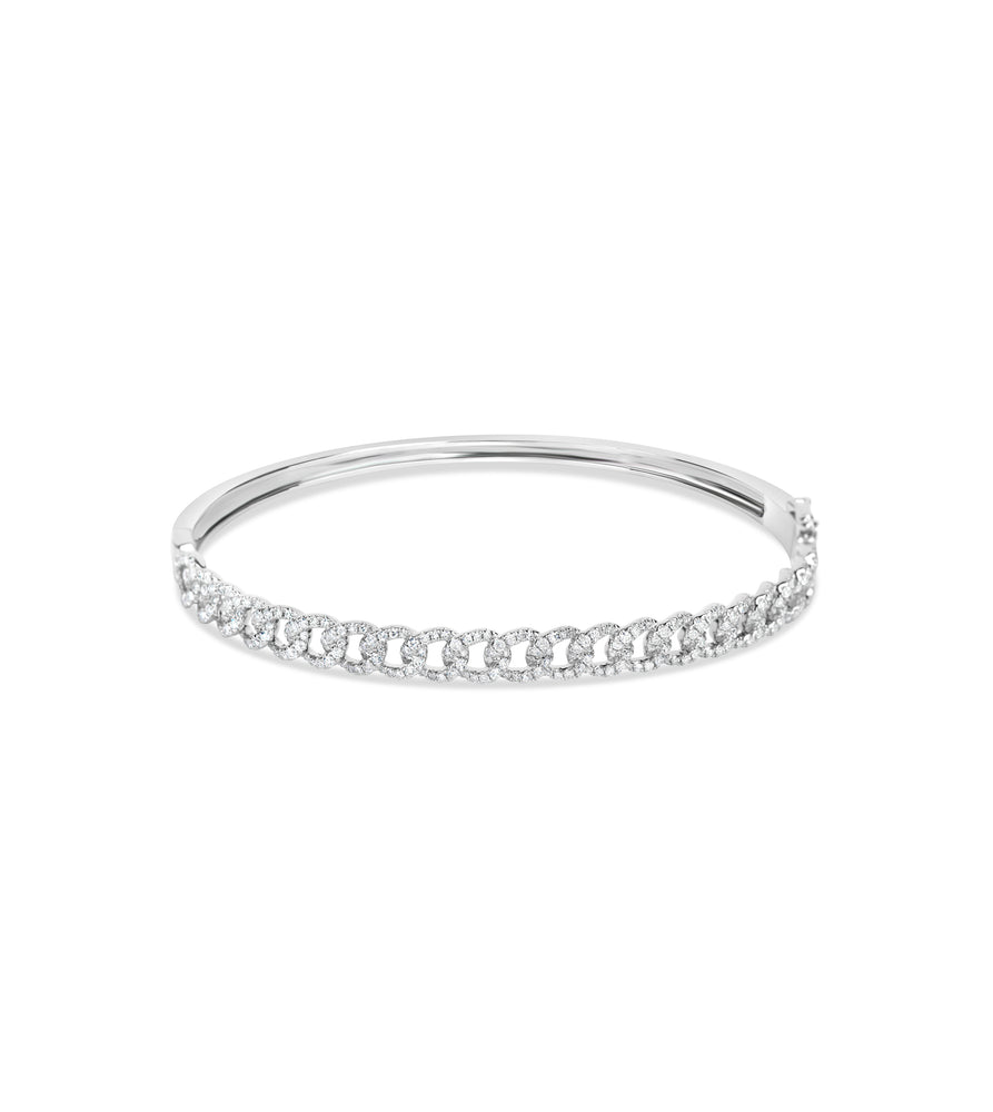 Diamond Cuban Link Bangle - 14K White Gold / 6.5 inch - Olive & Chain Fine Jewelry