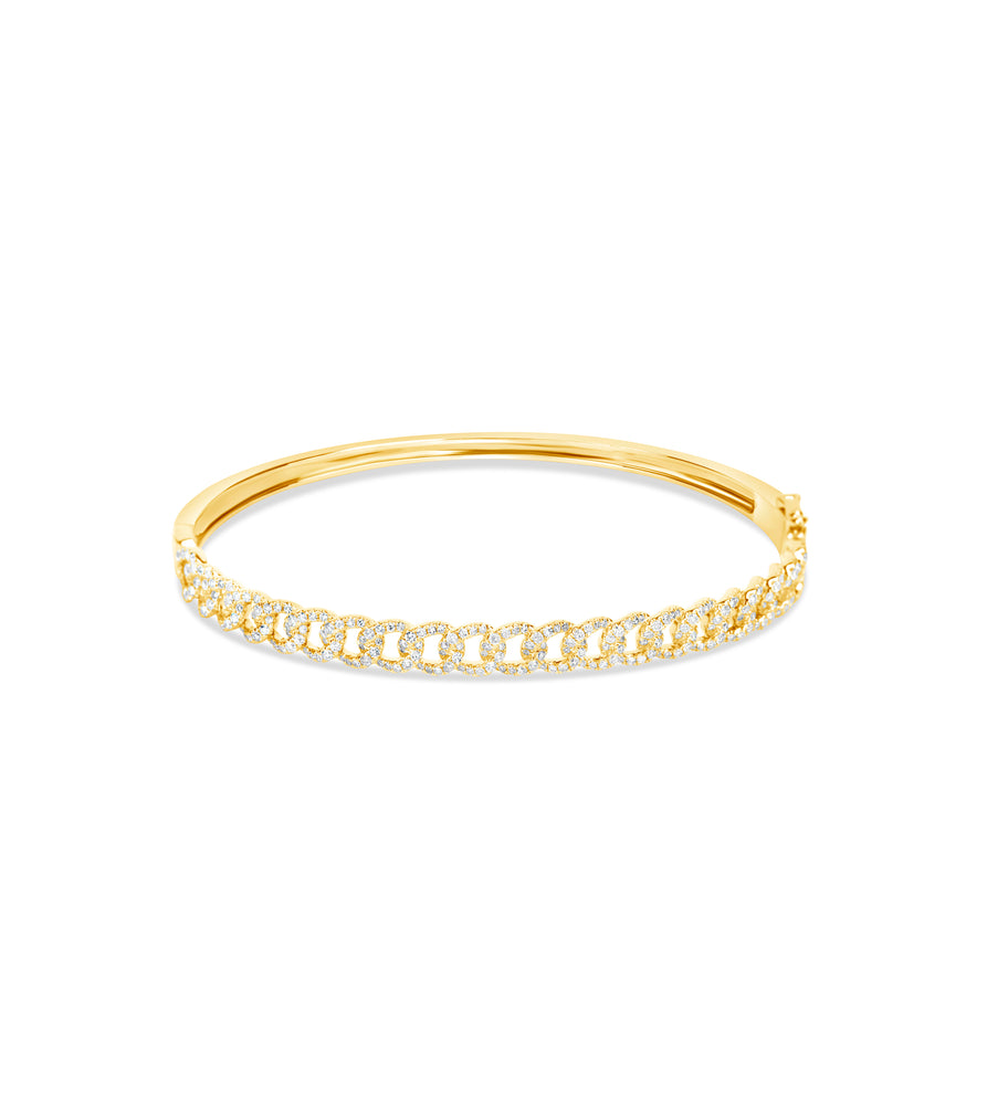 Diamond Cuban Link Bangle - 14K Yellow Gold / 6.5 inch - Olive & Chain Fine Jewelry