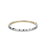 Diamond Geometric Cut Bangle - 14K Two-Tone Gold / 7 inch - Olive & Chain Fine Jewelry