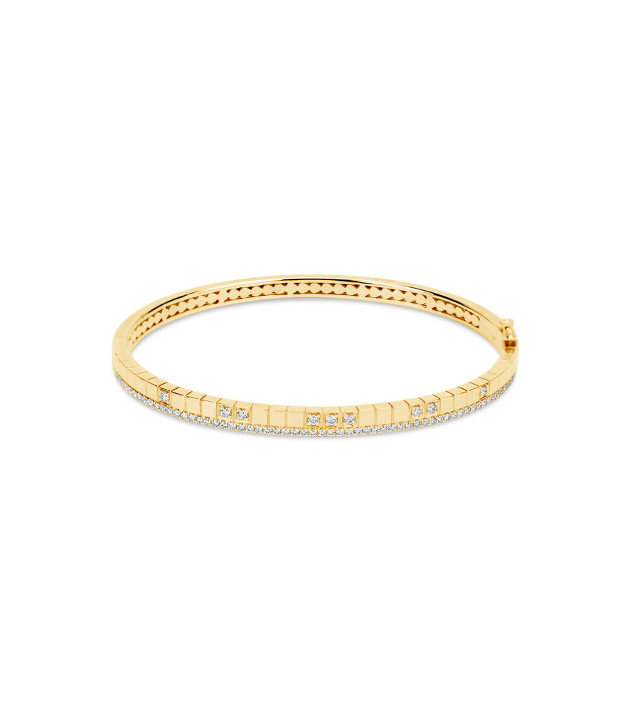 Diamond Grid Bangle - 14K Yellow Gold / 7 inch - Olive & Chain Fine Jewelry