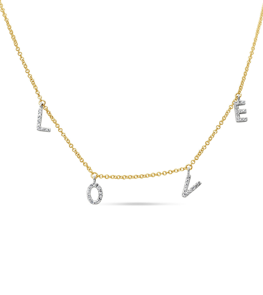 Diamond Love Necklace - 14K Two-Tone Gold - Olive & Chain Fine Jewelry