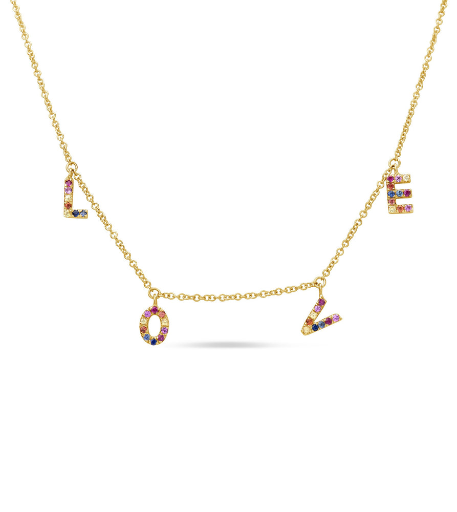 Rainbow Love Necklace - 14K Yellow Gold - Olive Jewelry
