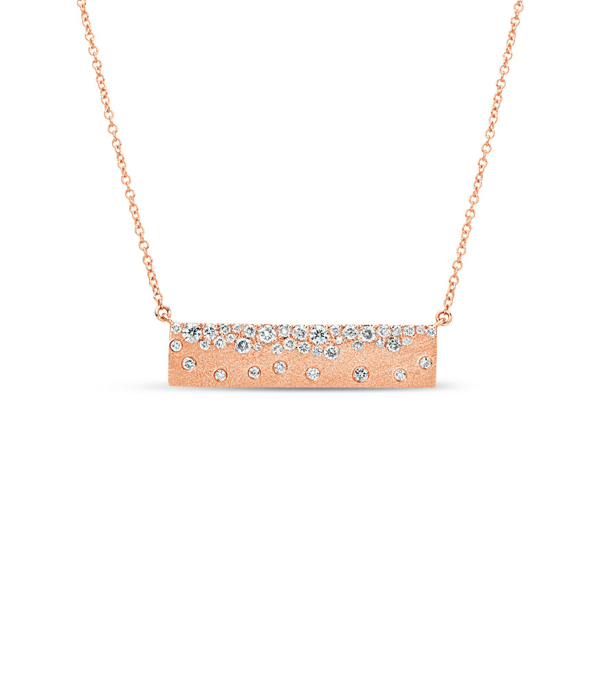 Diamond Celestial Bar Necklace - 14K Rose Gold - Olive & Chain Fine Jewelry