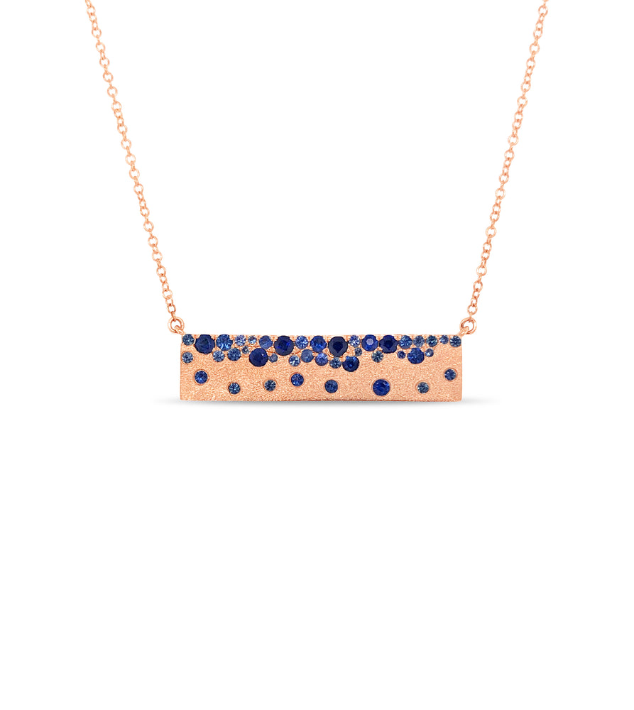 Sapphire Celestial Bar Necklace - 14K Rose Gold - Olive & Chain Fine Jewelry