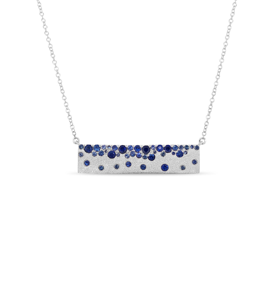 Sapphire Celestial Bar Necklace - 14K White Gold - Olive & Chain Fine Jewelry