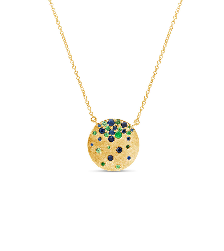 Tsavorite & Sapphire Celestial Disc Necklace - 14K  - Olive & Chain Fine Jewelry