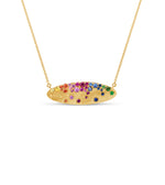 Rainbow Celestial Oval Necklace - 14K Yellow Gold - Olive & Chain Fine Jewelry
