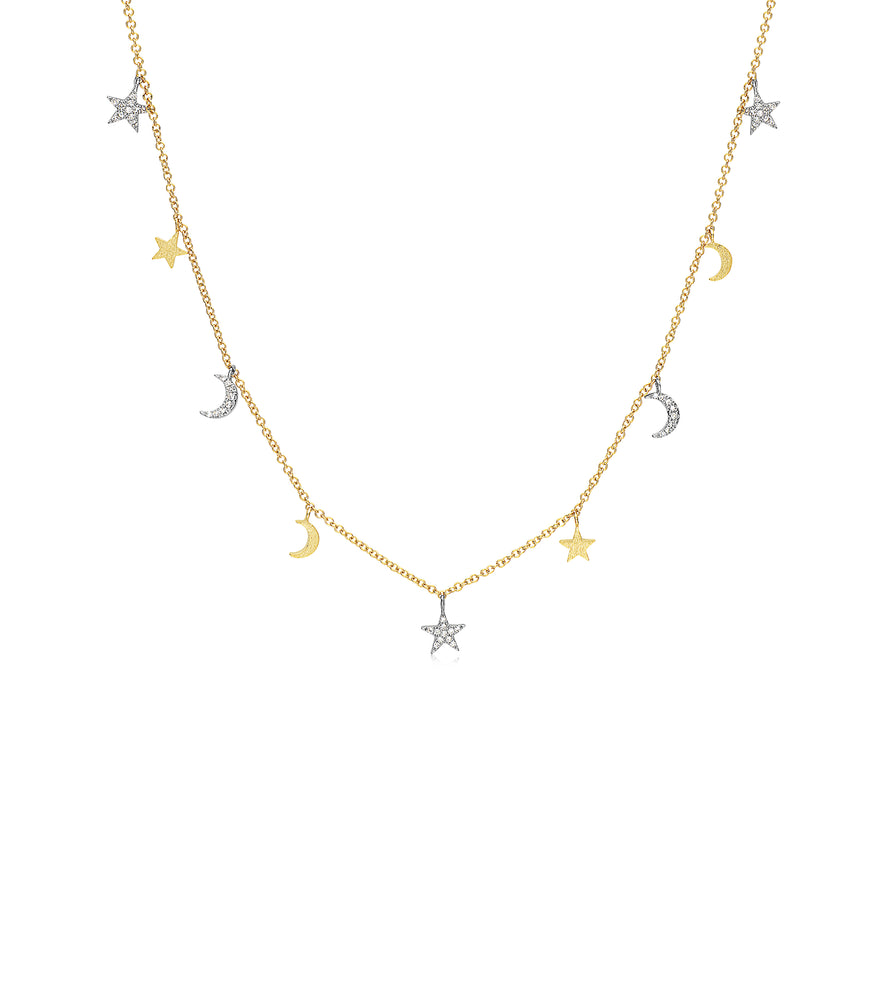 Diamond Star-Moon Charm Long Necklace