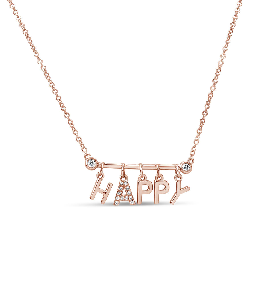 Diamond Happy Necklace - 14K Rose Gold - Olive & Chain Fine Jewelry