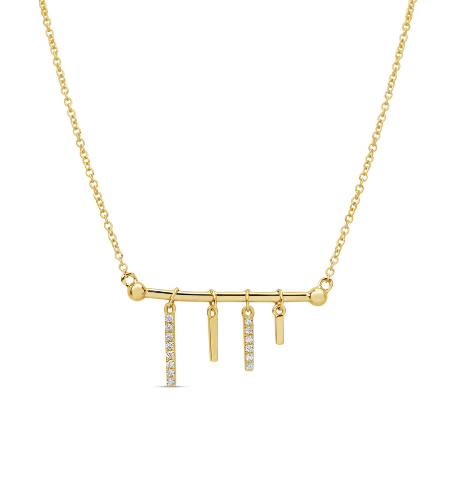 Diamond Bar Charm Necklace - 14K Yellow Gold - Olive & Chain Fine Jewelry