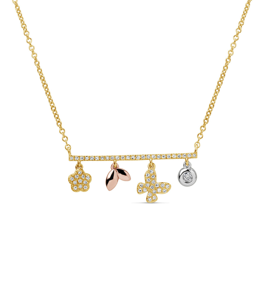 Diamond Bar Charm Necklace - 14K Two-Tone Gold - Olive & Chain Fine Jewelry