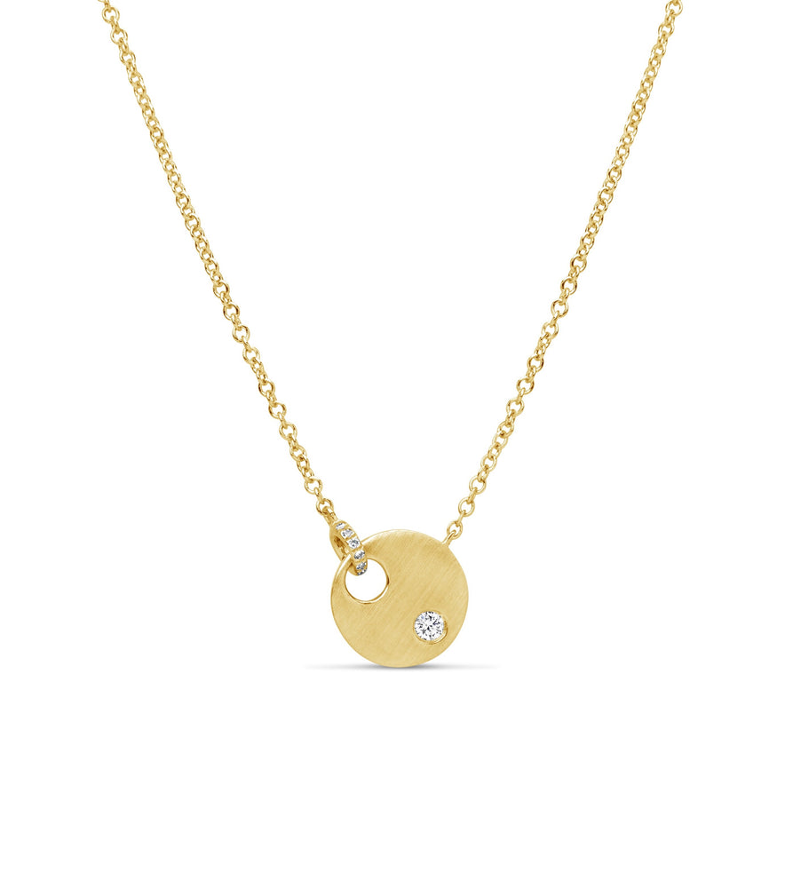 Diamond Dot & Disc Necklace - 14K Yellow Gold - Olive Jewelry