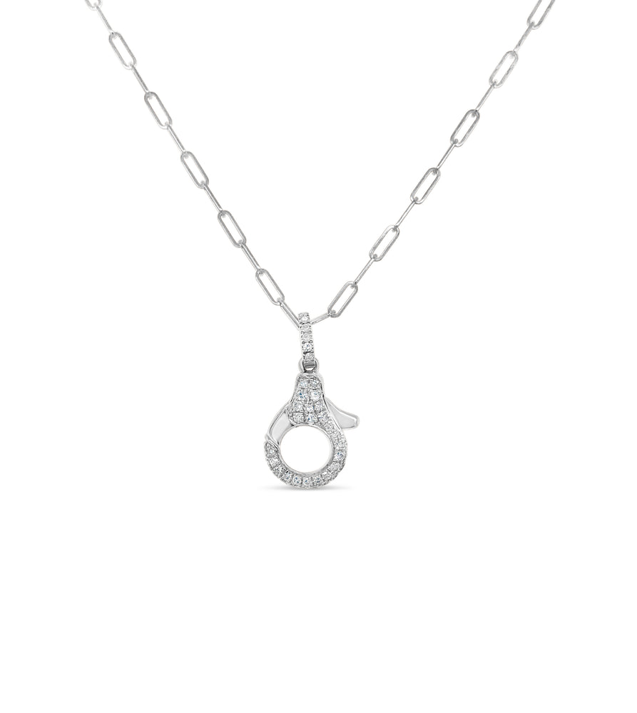 Diamond Lobster Clasp Paperclip Necklace - 14K White Gold - Olive & Chain Fine Jewelry