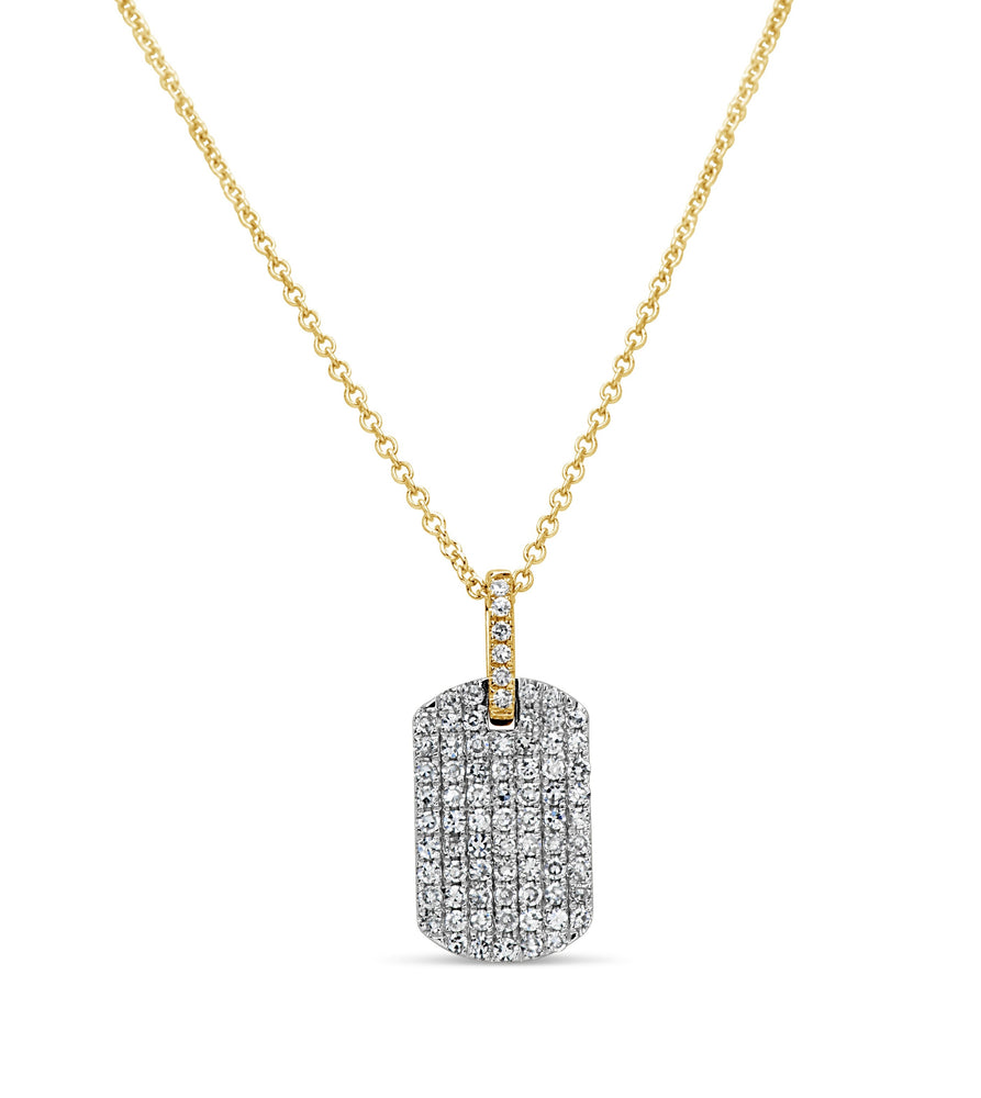 Diamond Dog Tag Necklace - 14K Two-Tone Gold - Olive Jewelry