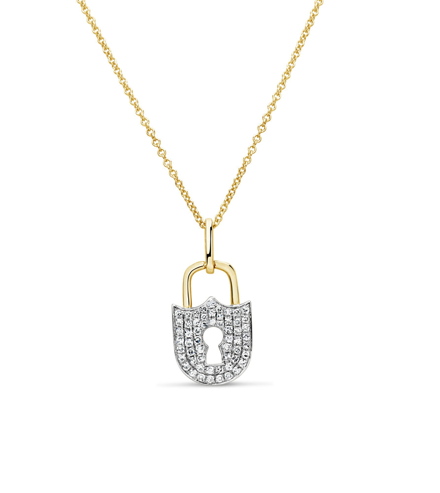 Diamond Padlock Necklace - 14K Two-Tone Gold - Olive Jewelry