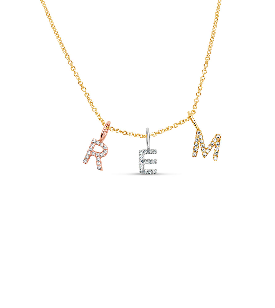 Diamond Initial Necklace - 14K  - Olive Jewelry