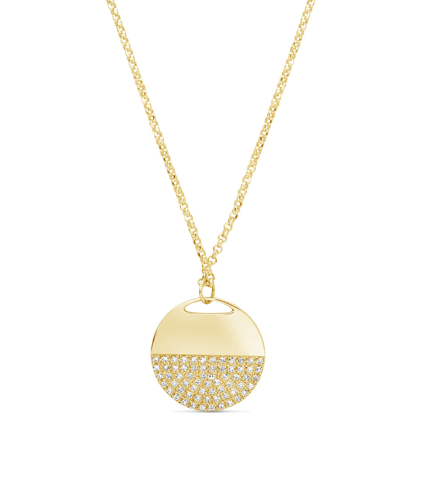 Diamond Half Disc Necklace - 14K Yellow Gold - Olive Jewelry