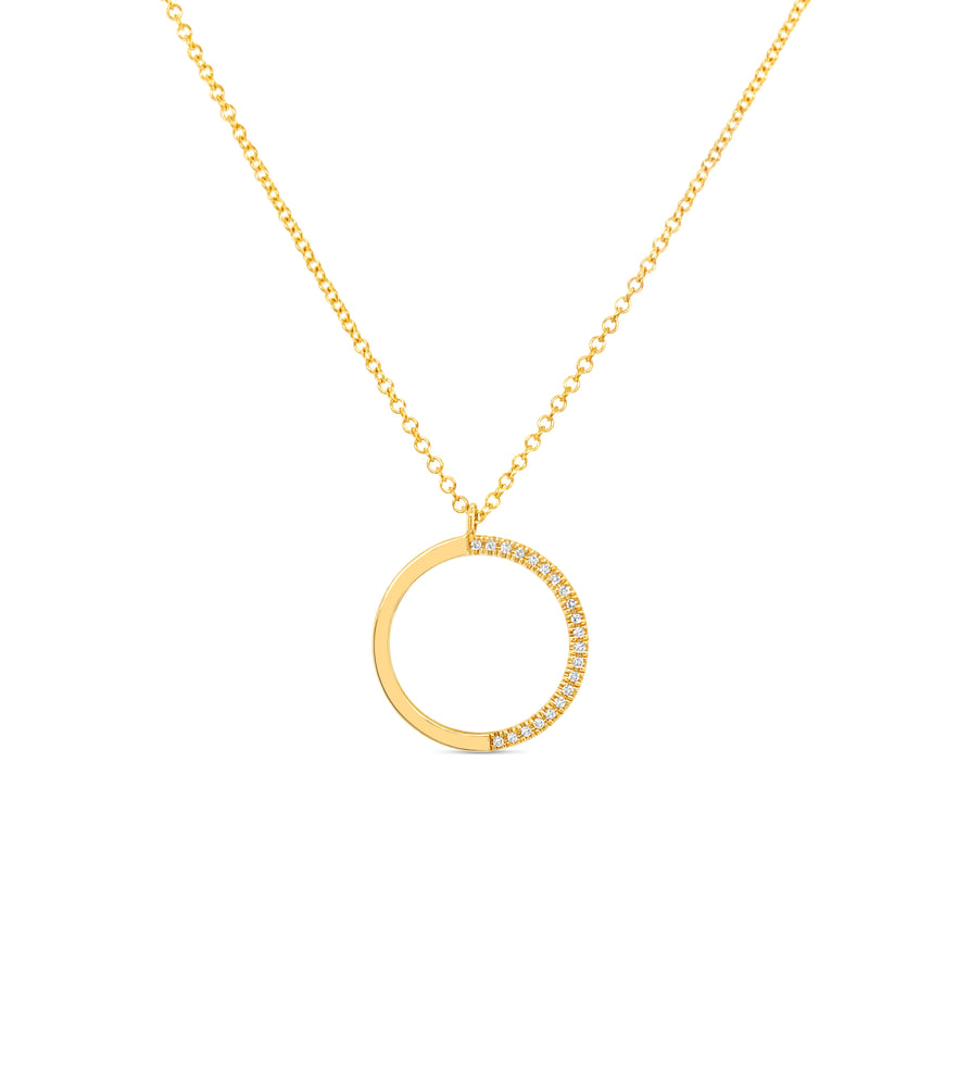 Diamond Half Circle Necklace - 14K Yellow Gold - Olive & Chain Fine Jewelry